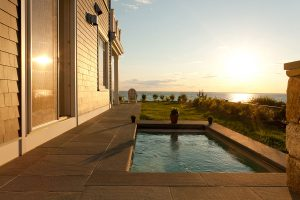 hot tub with water view