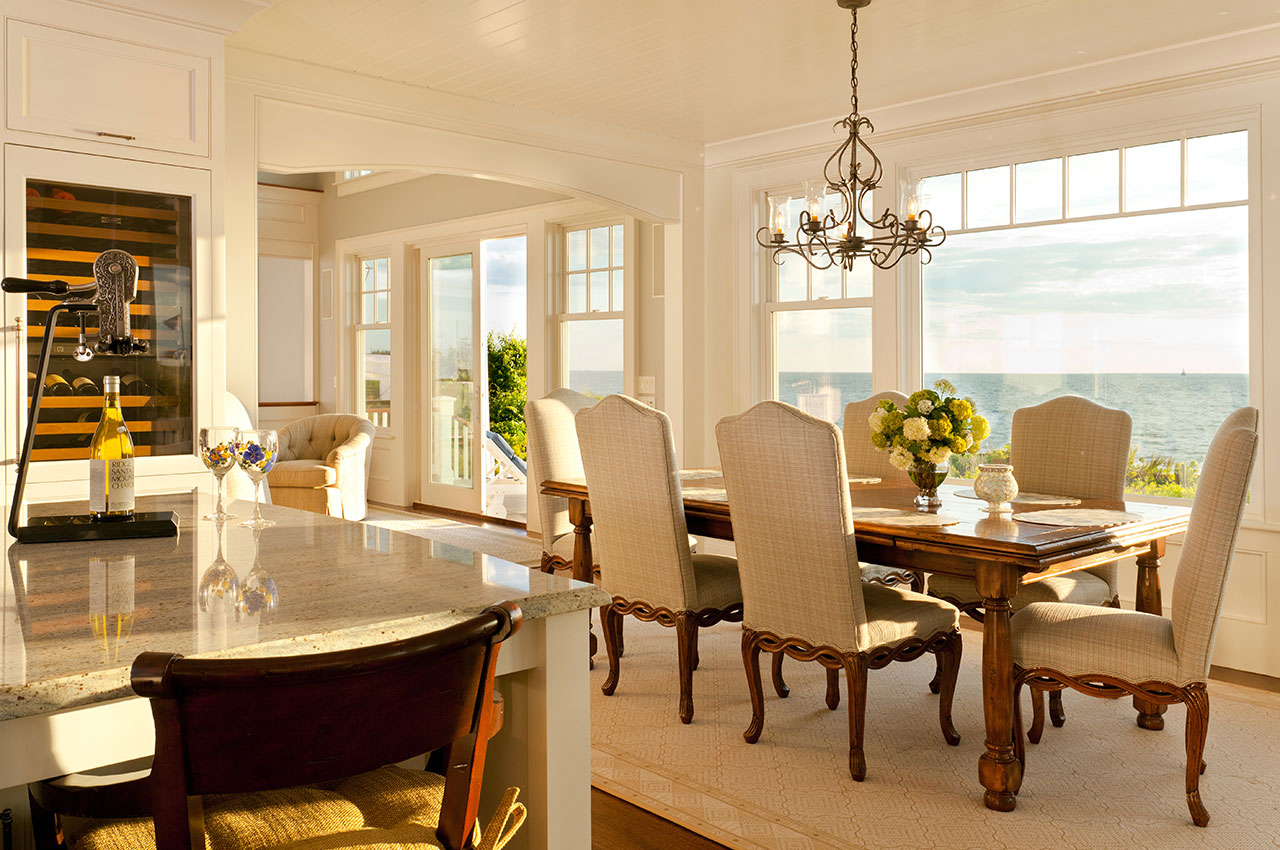 dining area with water view